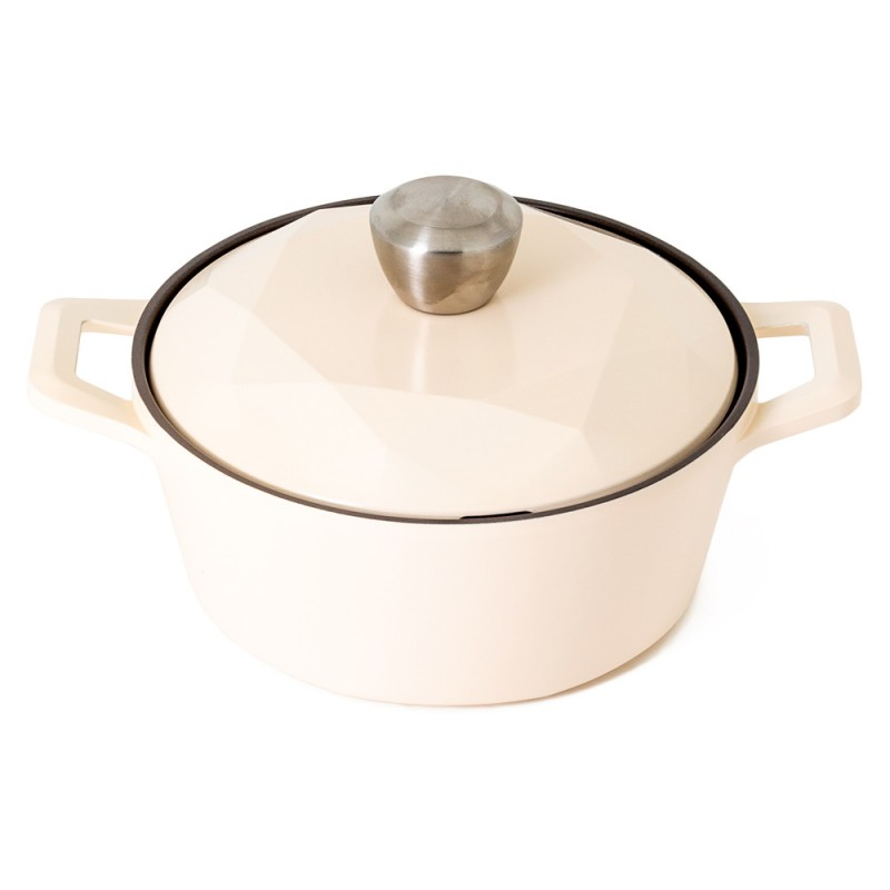 Neoflam Carat 20cm Casserole Non-induction with Die Cast Lid Ivory