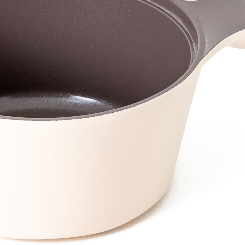 Neoflam Carat 18cm Sauce Pan Non-Induction with Die-Cast Lid Ivory