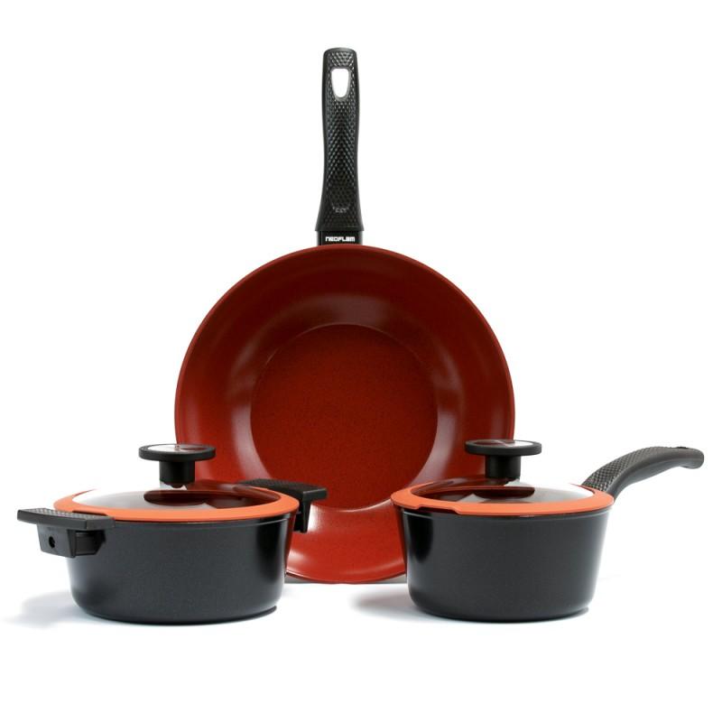 Neoflam De Chef 18cm & 20cm Sauce pans + 30cm Wok Induction set bonus Pan protector