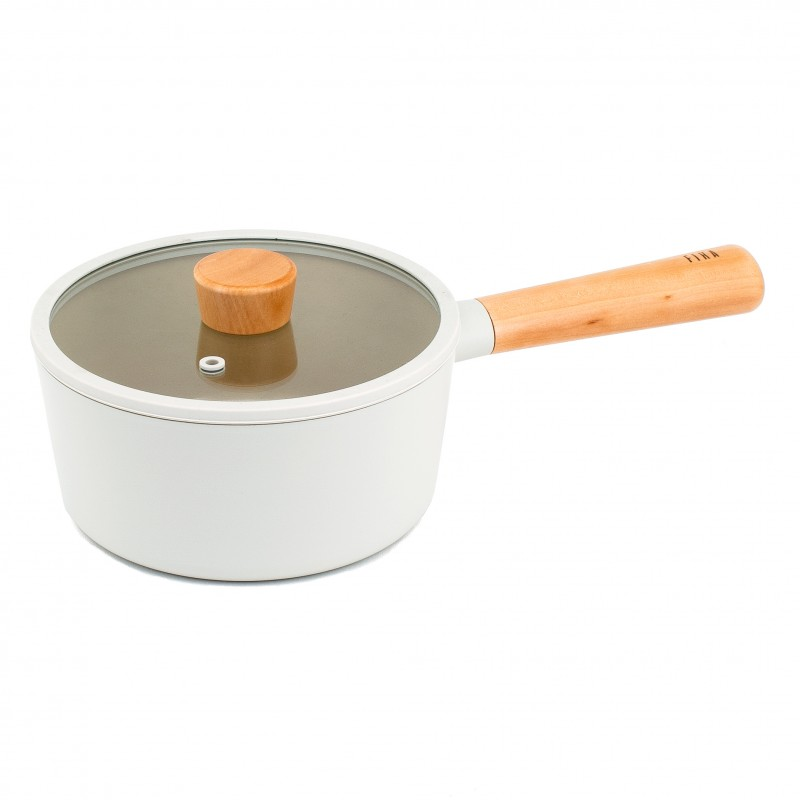 Neoflam Fika 18cm Saucepan Induction with Glass lid and silicon rim