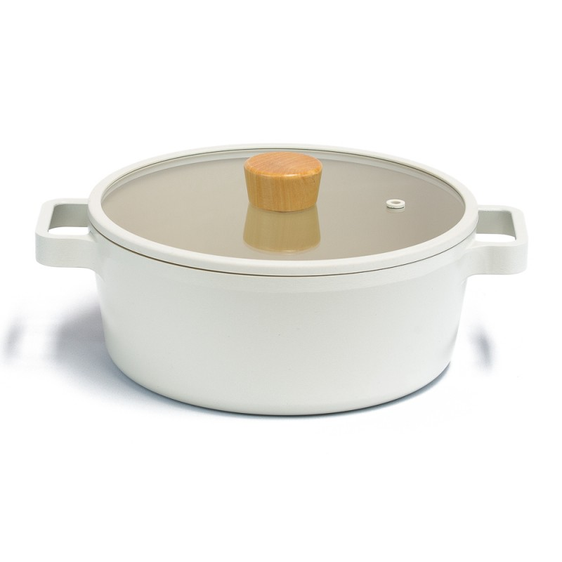 Neoflam Fika 22cm Stockpot Induction with Silicon Rim Glass Lid and Grill pan