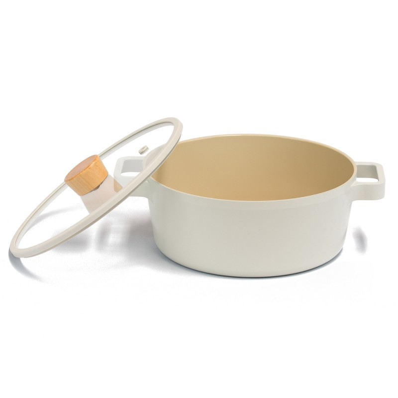 Neoflam Fika 22cm Stockpot Induction with Silicon Rim Glass Lid