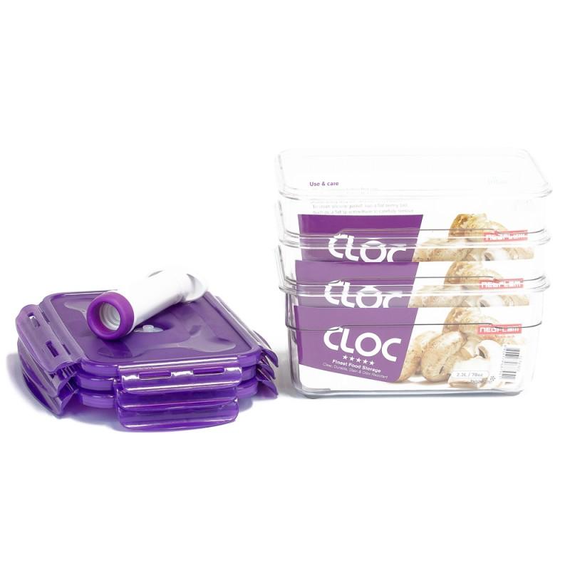 Neoflam CLOC Tritan Vacuum Seal Container 3 x 2.3L 4pc Set - Rectangle