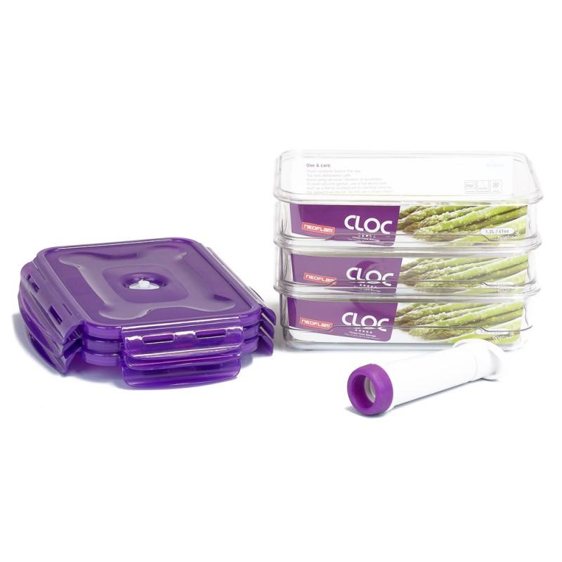 Neoflam CLOC Tritan Vacuum Seal Container small 3 x 1.2L pc + Pump