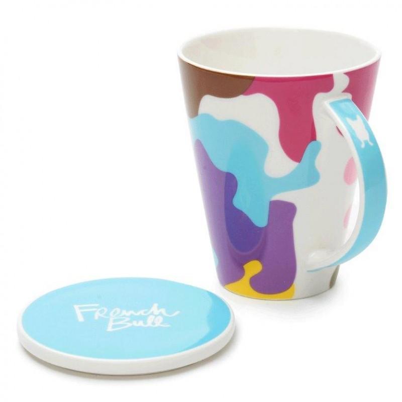 French Bull V Mug 460ml Porcelain with Porcelain Lid Glamo