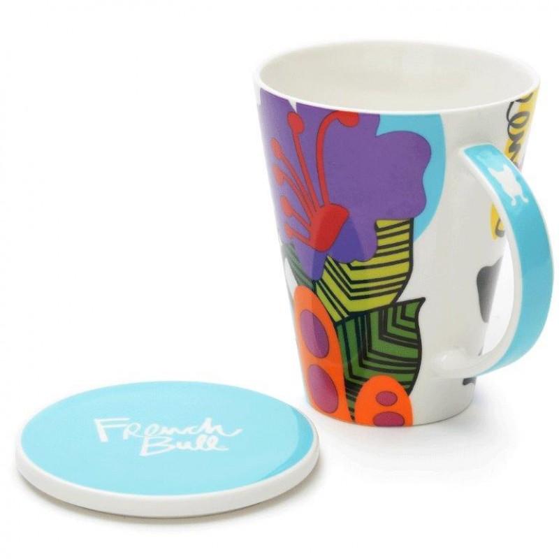 French Bull V Mug 460ml Porcelain with Porcelain Lid Oasis
