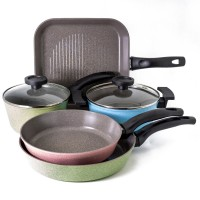 Neoflam Luke Hines 5 Piece Induction Cookware Set Marble Colours