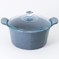 Neoflam Marble 2 Piece Set 18cm Saucepan & 24cm Casserole Induction with Glass Lid