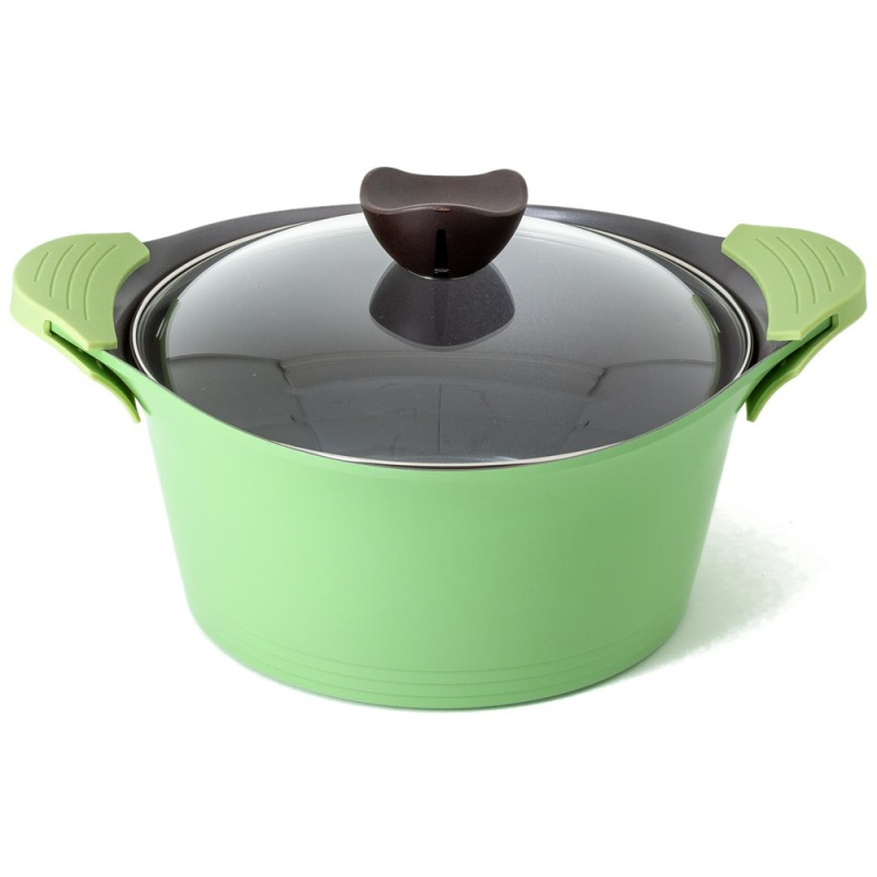 Neoflam Nature+ 3 Piece Set 20cm 24cm & 28cm Low Casserole with Glass Lid Induction Apple Green