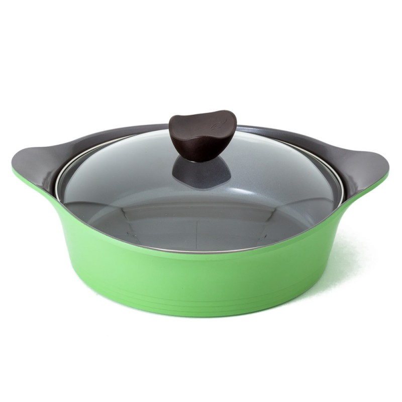 Neoflam Nature+ 2 Piece Set 28cm Low & 20cm Casserole with Glass Lid Induction Apple Green