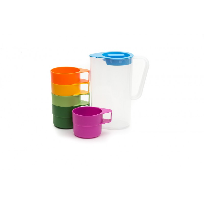 Neoflam Droplet 1.2L Jug with 5 Cups 6 Piece Picnic Set