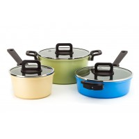 Neoflam Philos Non-Induction 18cm Sauce Pan, 24cm Casserole, 24cm Sauté 3 Piece Set