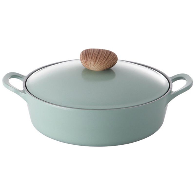 Neoflam Retro 26cm Low Stockpot Induction with Die-Cast Lid  Green Demer
