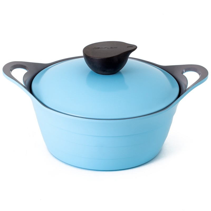 Neoflam Nature Chef Roca 20cm Casserole Induction with Die-Cast Lid and Glass Lid Light Blue