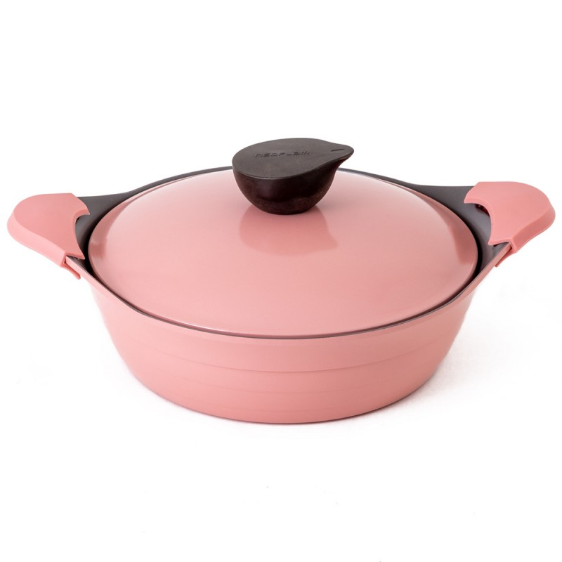 Neoflam Nature Chef Roca 24cm Low Casserole Induction with Die-Cast Lid Pink