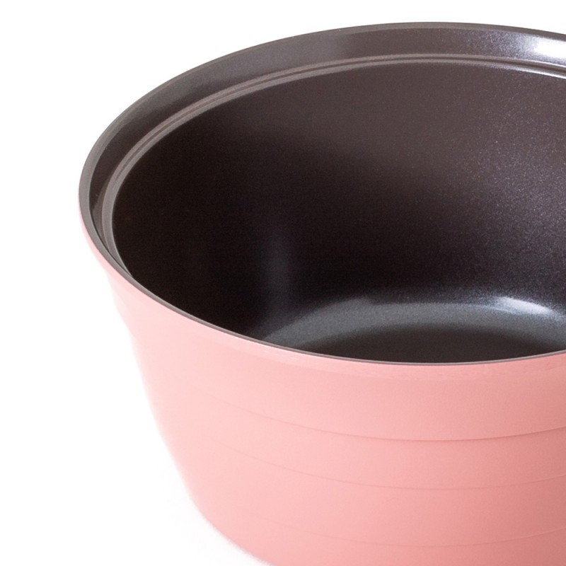 Neoflam Nature Chef Roca 18cm Sauce Pan Induction with Die-Cast Lid Pink