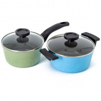 Neoflam Luke Hines 2 Piece Set 18cm Saucepan & 20cm Casserole Induction Green & Blue Marble