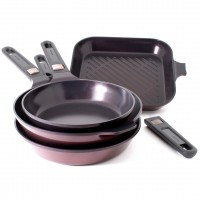 Neoflam MyPan 4 Piece Set 24cm 28cm Frypans 28cm Wok & 28cm Grillpan Induction Red Ruby