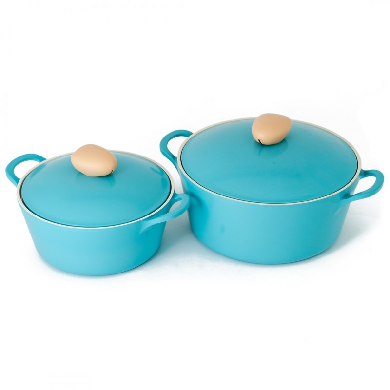 Neoflam Retro 2 Piece Set 22cm & 26cm stockpot Induction with Die-Cast Lid Mint