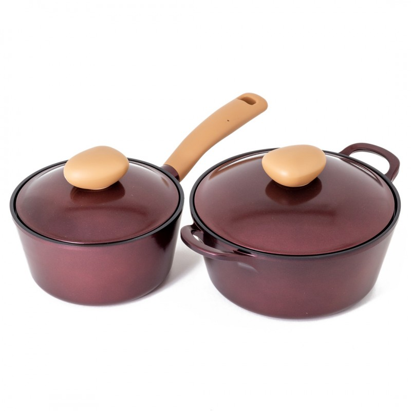 Neoflam Retro Jewel 2 Piece Set 18cm Saucepan & 22cm Casserole  Induction with Die-Cast Lid Red Ruby
