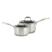 Neoflam Stainless Steel 2 x 18cm Sauce Pan Induction set with 2 x Glass Lids