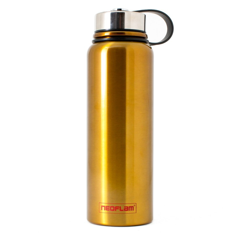 Neoflam All Day 1.2L Stainless Steel Double Walled and Vacuum Insulated Water Bottle Gold Metal