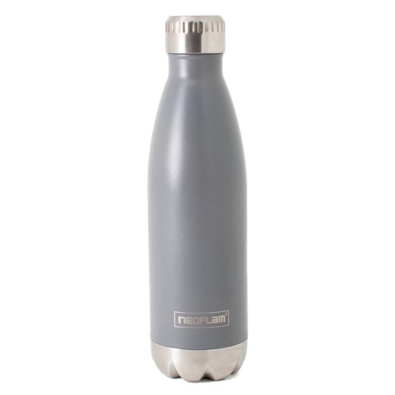 Neoflam Classic 500ml Stainless Steel Double Walled and Vacuum Insulated Water Bottle Grey