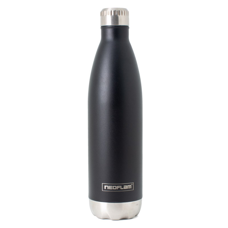 Neoflam Classic 750ml Stainless Steel Double Walled and Vacuum Insulated Water Bottle Black