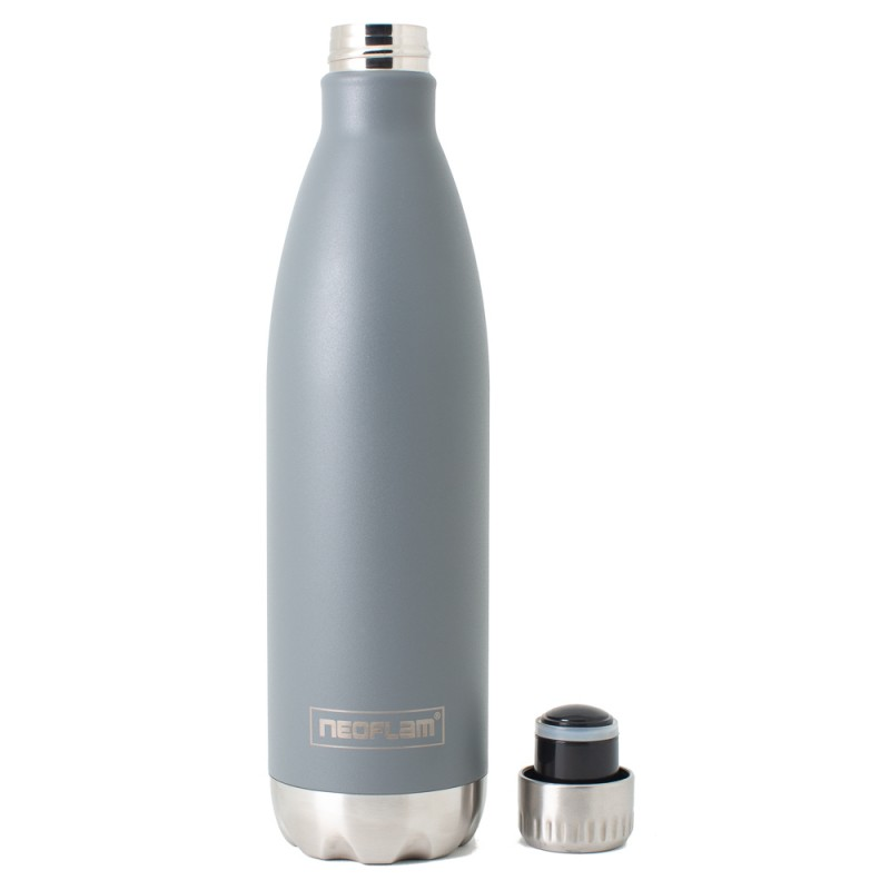 Neoflam Classic 750ml Stainless Steel Double Walled and Vacuum Insulated Water Bottle Grey