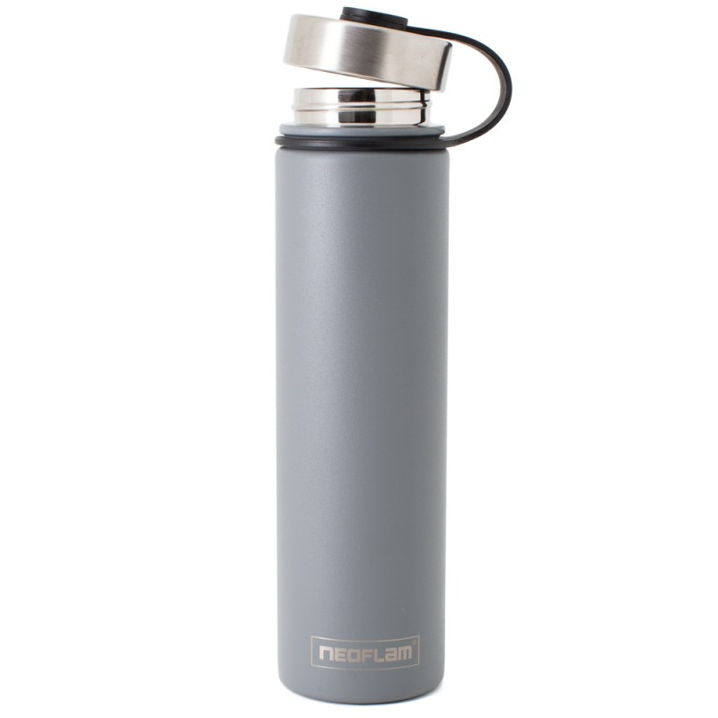 Neoflam Skinny 750ml Stainless Steel Double Walled and Vacuum Insulated Water Bottle Grey