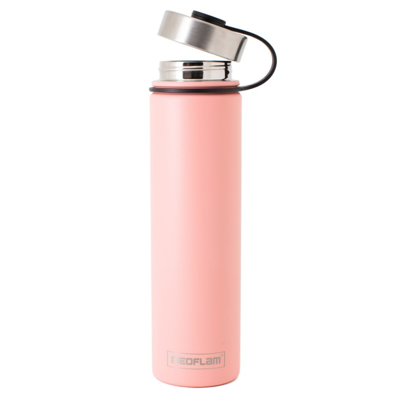Neoflam Skinny 750ml Stainless Steel Double Walled and Vacuum Insulated Water Bottle Peach
