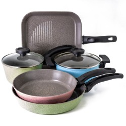 Neoflam Luke Hines 5 Piece Cookware Set Induction Marble Colours