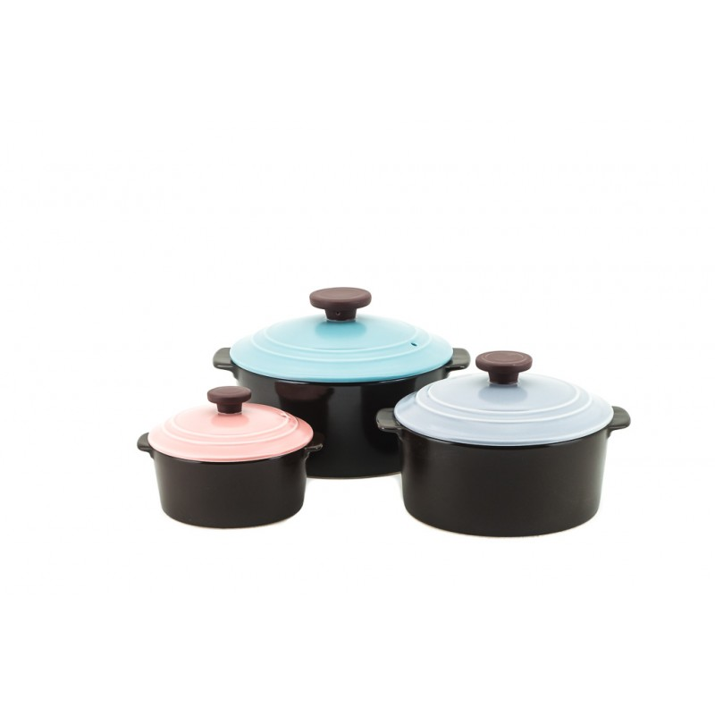 Neoflam Dandy Nature Cook Stone Pots Set Of 3 18cm Mint