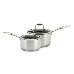 Neoflam Stainless Steel 18cm & 20cm Sauce Pan set of 2 Induction with Glass Lids